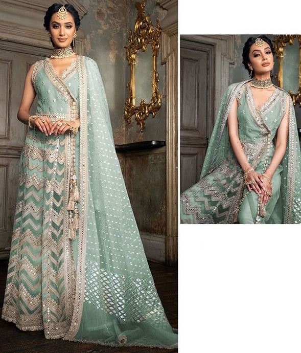Fresh Mint Salwar Kameez Suit In Net SIYAYD1558 - Siya Fashions
