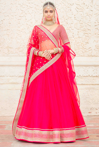 Frizzle Red Indian Bridal Wedding Lehenga Choli Set SFAZA643 - Siya Fashions