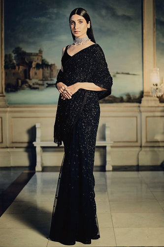 Buy Elegant Bridal Black Sequin Saree SFIN120 - Siya Fashions