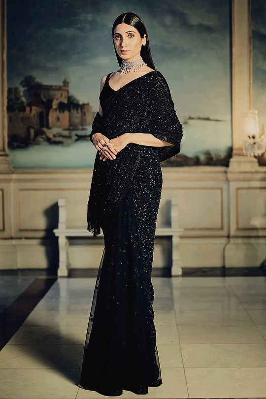 Buy Elegant Bridal Black Sequin Saree SFIN120