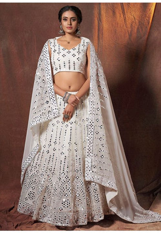 White Mirror Work Sangeet Lehenga Choli In Georgette SFASHIONS47