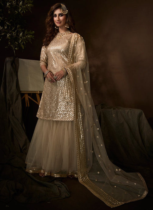 Gold Beige Sangeet Party Net Fully Sequinned Sharara Suit FZ105 - Siya Fashions