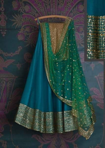 Gold Blue Bridal Reception Lehenga Set In Silk Heavy Handwork INS1532 - Siya Fashions