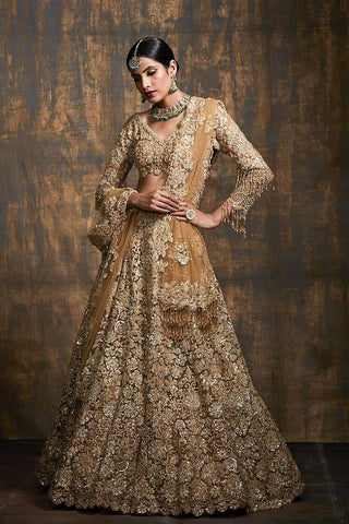 Gold Bridal Dulhan Wedding Haute Couture Net Lehenga DULHAN55 - Siya Fashions