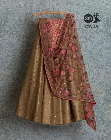 Gold Bridal Handwork Net Silk Lehenga Choli  INS2208 - Siya Fashions