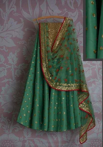 Gold Green Bridal Reception Lehenga Set In Silk Heavy Handwork INS145 - Siya Fashions
