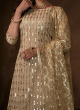 Load image into Gallery viewer, Gold Sangeet Party Net Sequinned Sharara Suit FZ102 - Siya Fashions