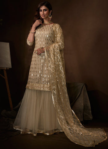 Gold Sangeet Party Net Sequinned Sharara Suit FZ102 - Siya Fashions