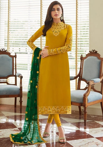 Gold Yellow Churidar In Georgette Fabric SIYA0299 - Siya Fashions