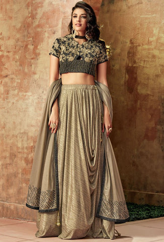 Gold Lehenga In Lycra Beaded Hand Work SFY3412YD - Siya Fashions