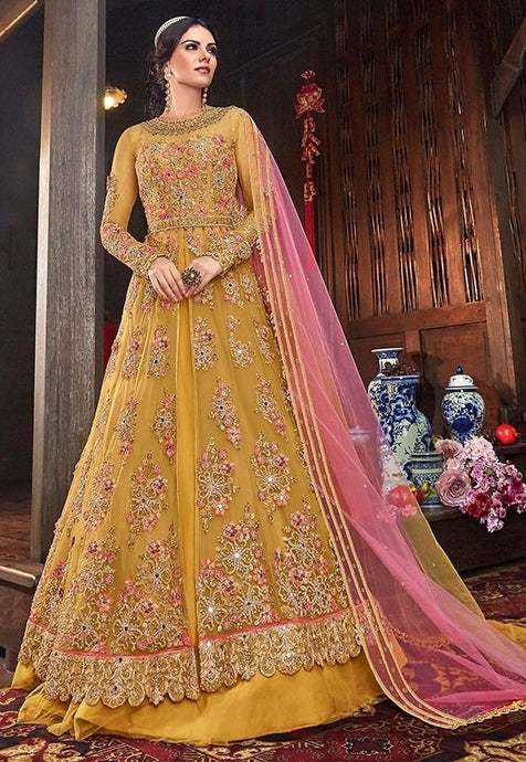 Gold Yellow Pure Net Lehenga Kameez Suit SFYDS9553 - Siya Fashions