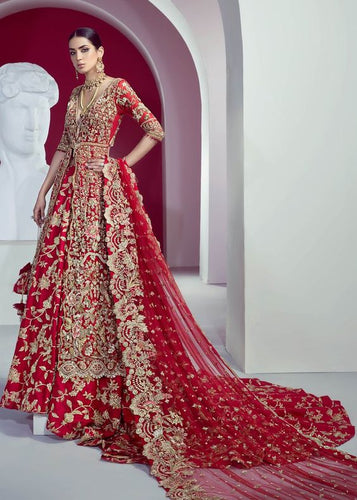 Gold Red Floral Bridal Lehenga Trail SFINS012 - Siya Fashions
