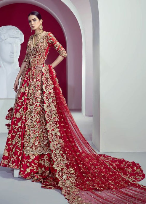 Gold Red Floral Bridal Lehenga Trail SFINS012