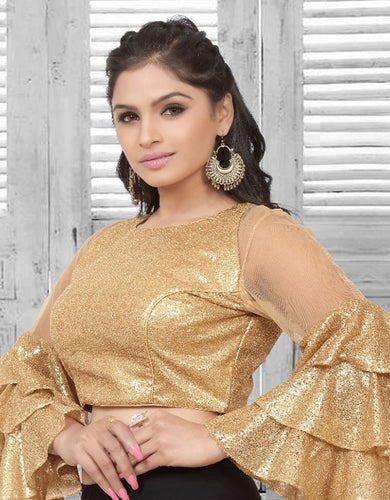 Gold Sequin Umbrella Sleeves Blouse SF223BL - Siya Fashions