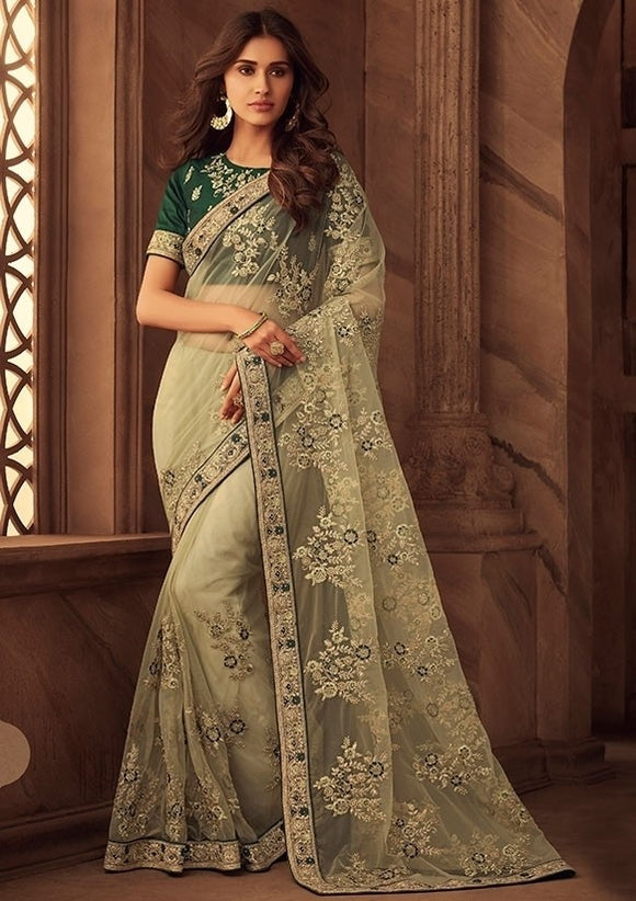Grandeur Mint Green Net Saree Dupion Embroidery SFYD111
