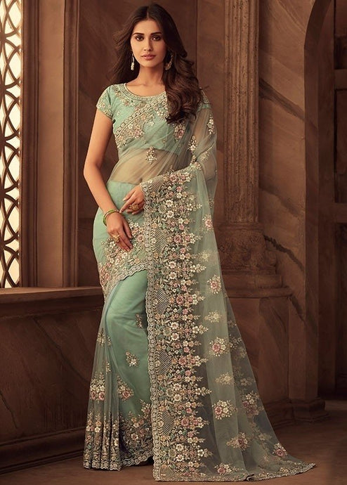 Grandeur Mint Net Saree Embroidery Work SFYD110 - Siya Fashions