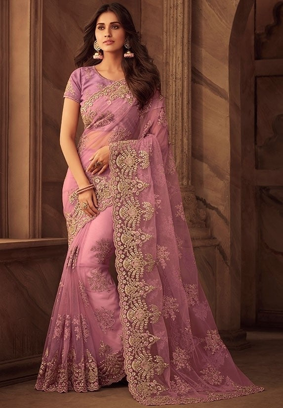 Grandeur Pink Net Saree Embroidery Work SFYD109