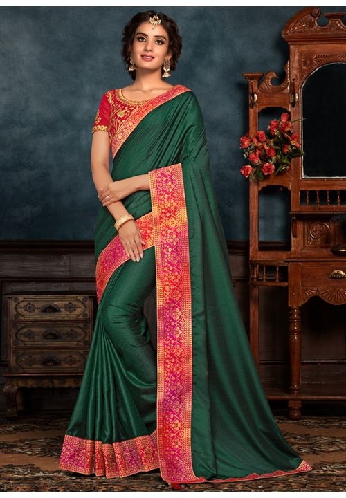 Green Art Silk Saree Pink Raw Silk Blouse YD2155EX - Siya Fashions