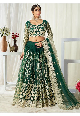Green Gold Bridal Lehenga Choli In Net Badla Work SIYA0095 - Siya Fashions