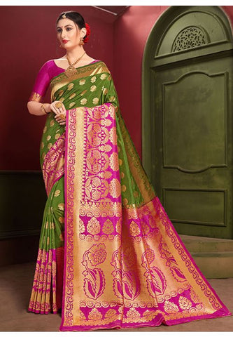 Green Indian Wedding Partywear Saree In Banarasi Silk YDS1044 - Siya Fashions