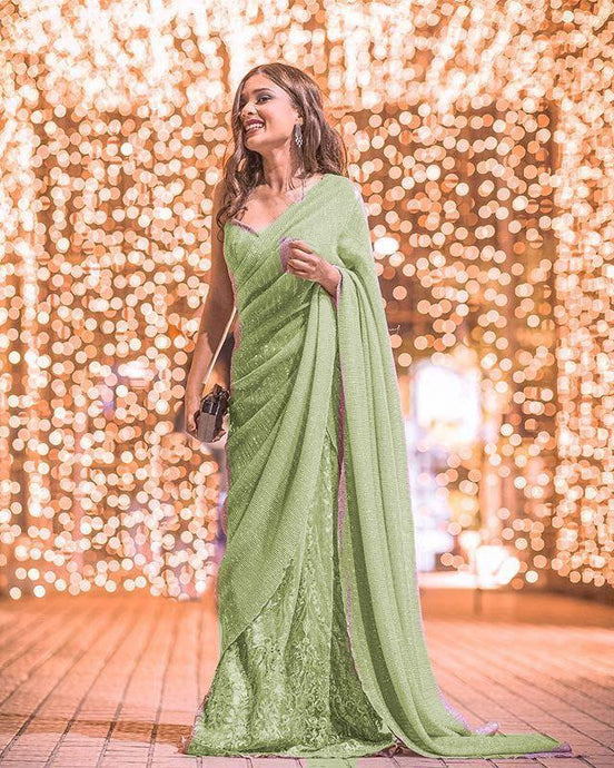 Green Indian Westen Designer Partywear Sequence Saree With Embroidered Work BOL436YDS - Siya Fashions