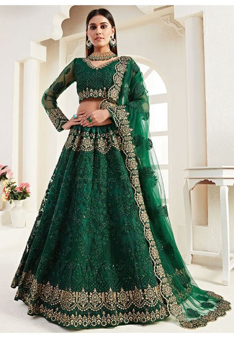 Green Net Reception Evening Lehenga Set Stone Work SF094YDW - Siya Fashions