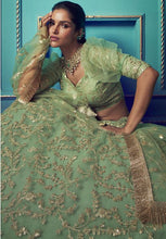 Load image into Gallery viewer, Green Ruffled Sequins Cocktail Wedding Reception Net Lehenga Set SF40WD - Siya Fashions
