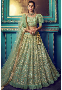 Green Ruffled Sequins Cocktail Wedding Reception Net Lehenga Set SF40WD - Siya Fashions