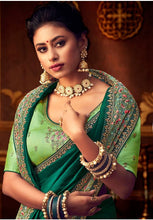 Load image into Gallery viewer, Green Silk Saree Yellow Dupion Blouse With Stone Work YDS121SF - Siya Fashions