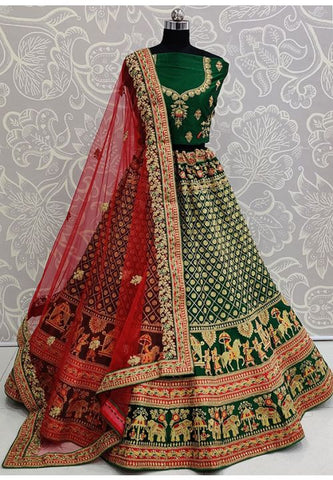 Green Super Heavy Bridal Lehenga In Satin With Stone Work SIYA3231 - Siya Fashions