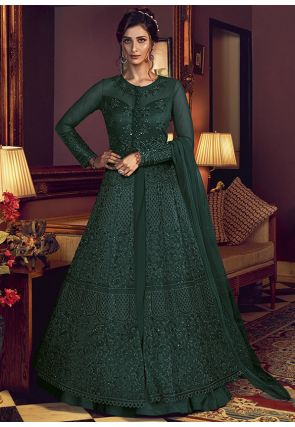 Green Wedding Reception Anarkali Gown Net D530YDS - Siya Fashions
