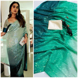 Green Bollywood Sequined Reception Wedding Partywear Saree BOL1023 - Siya Fashions