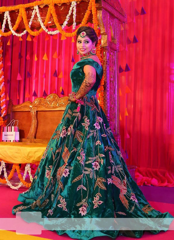 Green Pure Velvet Lehenga Sequin With Tail SFIN0921