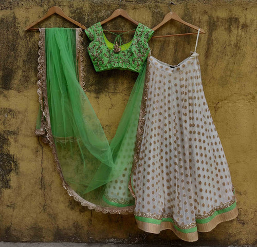 Green Raw Silk Lehenga With Zari Pearl SIYA124IN - Siya Fashions