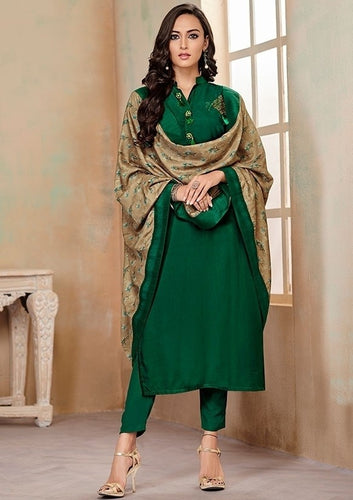 Green Readymade Suit Cotton Style SF99022YDS - Siya Fashions