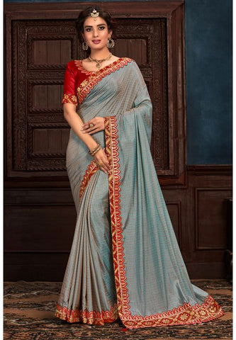 Grey Art Silk Saree Red Raw Silk Blouse YD2157EX - Siya Fashions