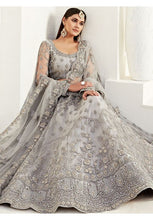 Load image into Gallery viewer, Grey Net Reception Evening Lehenga Set Badla Embroidery SF092YDW - Siya Fashions