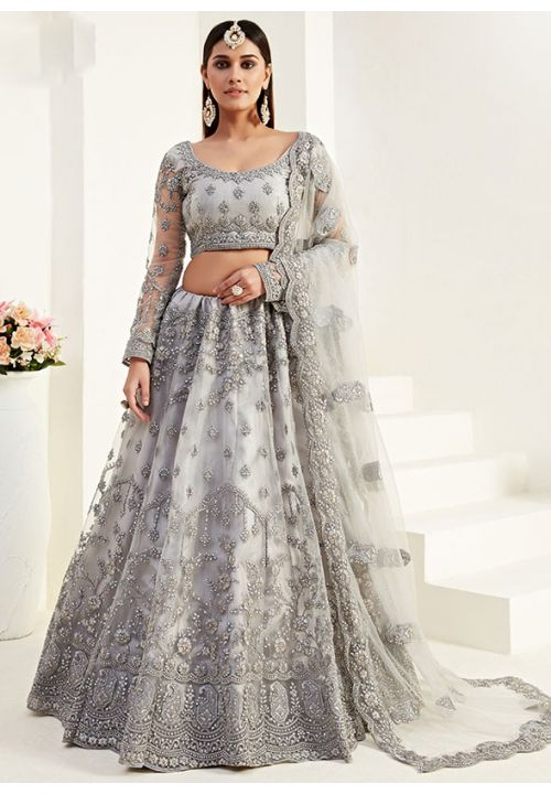 Grey Net Reception Evening Lehenga Set Badla Embroidery SF092YDW - Siya Fashions