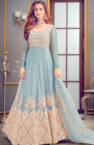 Grey Net Zari Embroidery Long Anarkali Gown SFYDS90 - Siya Fashions