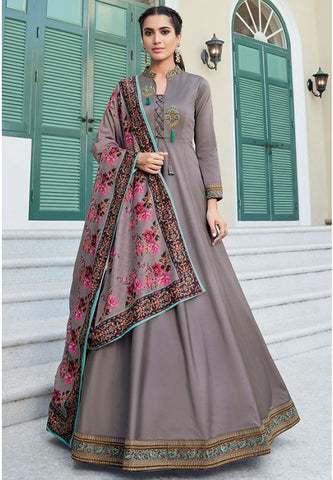 Grey Readymade Anarkali Gown In Silk Embroidery Work APR208 - Siya Fashions