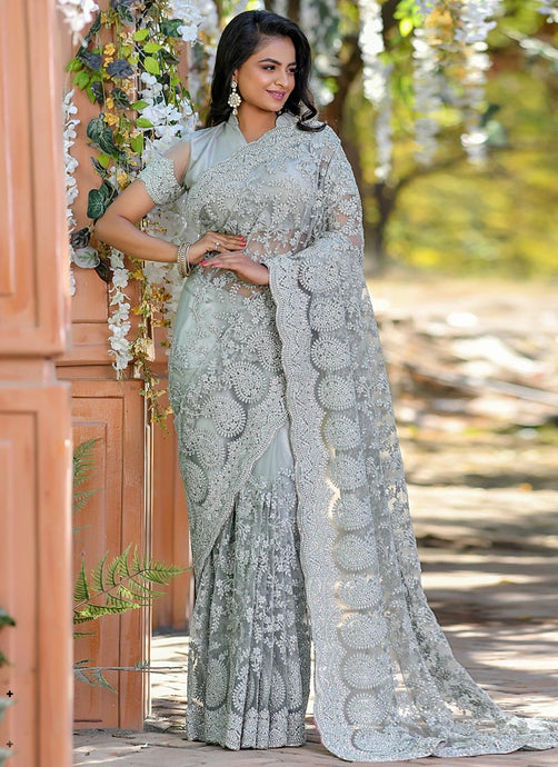Grey Reception Party Wear Net Saree SSFWED42 - Siya Fashions