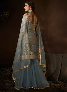 Grey Sangeet Party Net Sequinned Sharara Suit FZ103 - Siya Fashions