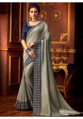 Grey Silk Saree Navy Dupion Blouse With Stone Work YDS123SF - Siya Fashions