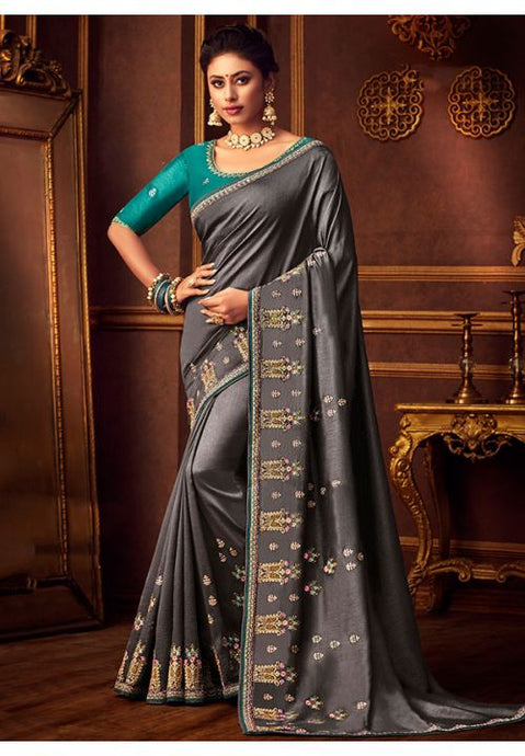 Grey Silk Saree Teal Dupion Blouse With Stone Work YDS122SF - Siya Fashions
