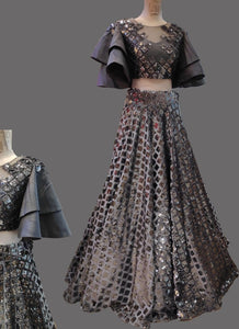 Grey Multi Cocktail Reception Prom Lehenga SFIN454SD - Siya Fashions