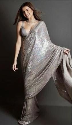 Grey Party Wear Sequin Georgette Sequin SIYABOL1123 - Siya Fashions