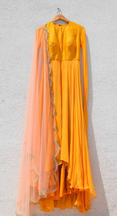 Haldi Yellow Shaded Gown With Sequin Dupatta SFIN5222 - Siya Fashions