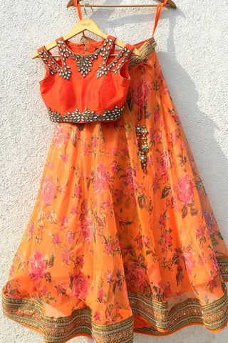 Floral Orange Yellow Lehenga Choli In Organza Net SF800012IN - Siya Fashions