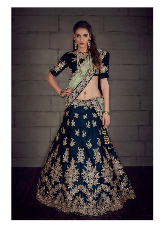 Handcrafted Blue Bridal Wedding Lehenga In Silk SFIN532