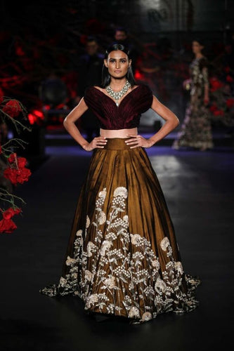 Bronze Bridal Wedding Reception Lehenga In Silk With Swarovski Work SFIN023 - Siya Fashions